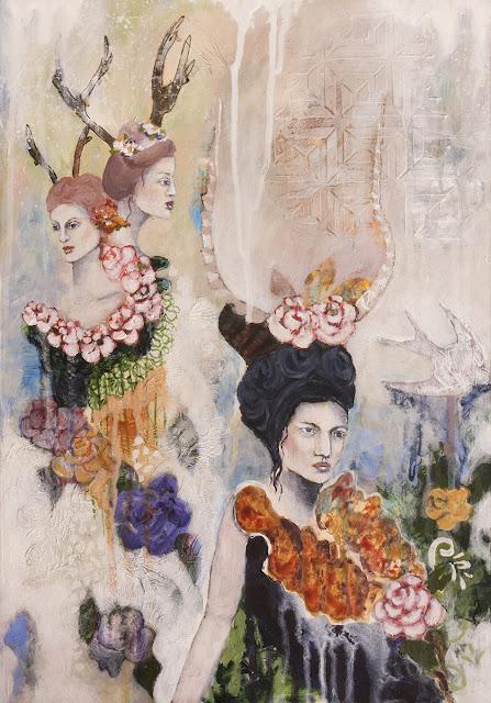 Through the Thinning Veils, Galia Alena, mixed media painting