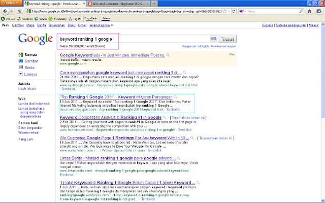 Hasil Posting Top Ranking 1 Google 2011 Setelah 96 Jam di Google Indonesia - Keyword Ranking 1 Google