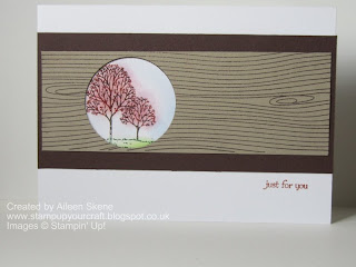 Stampin Up Lovely as a Tree inset into a cricle withing Woodgrain