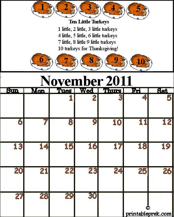 Monthly Calendar Template November Preschool Calendar Template ...