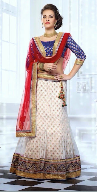 Zari Work White & Maroon Net Lehenga With Dupatta & Art Silk Choli