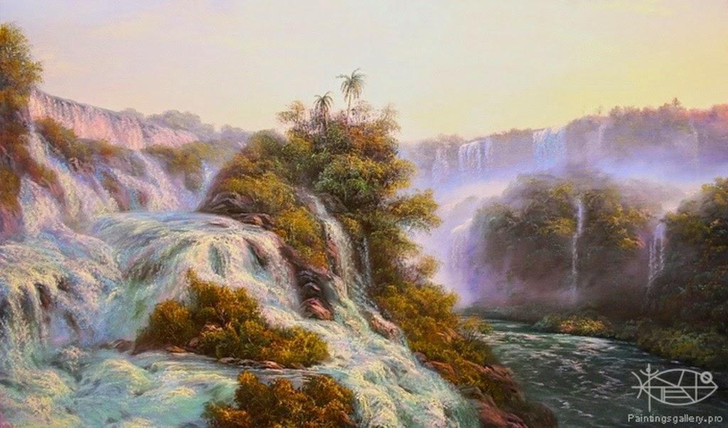 cuadros-de-paisajes-con-cascadas-pintados-al-oleo