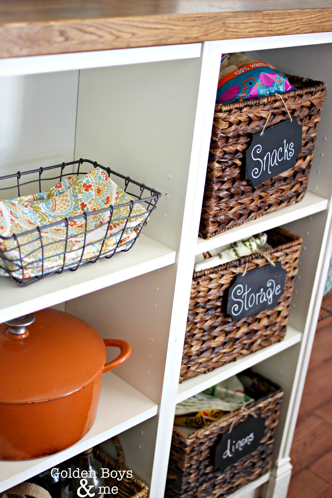 Baskets for kitchen storage on open shelves-www.goldenboysandme.com