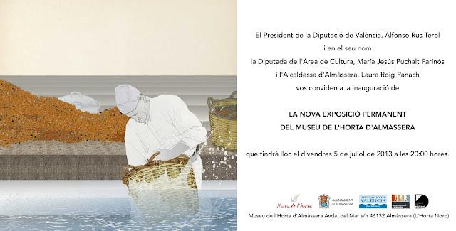 tarjeta de invitacion, inauguracion, museo, Almacera,  dibujo