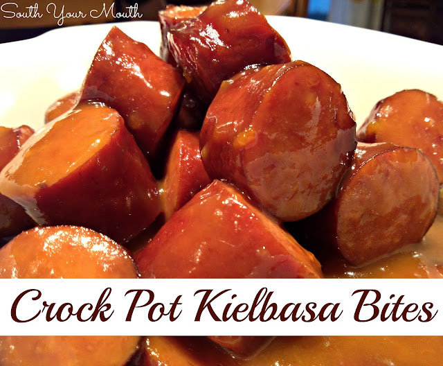 Kielbasa or smoked sausage with sweet and tangy sauce made with apricot preserves and dijon mustard. (no more grape jelly!)