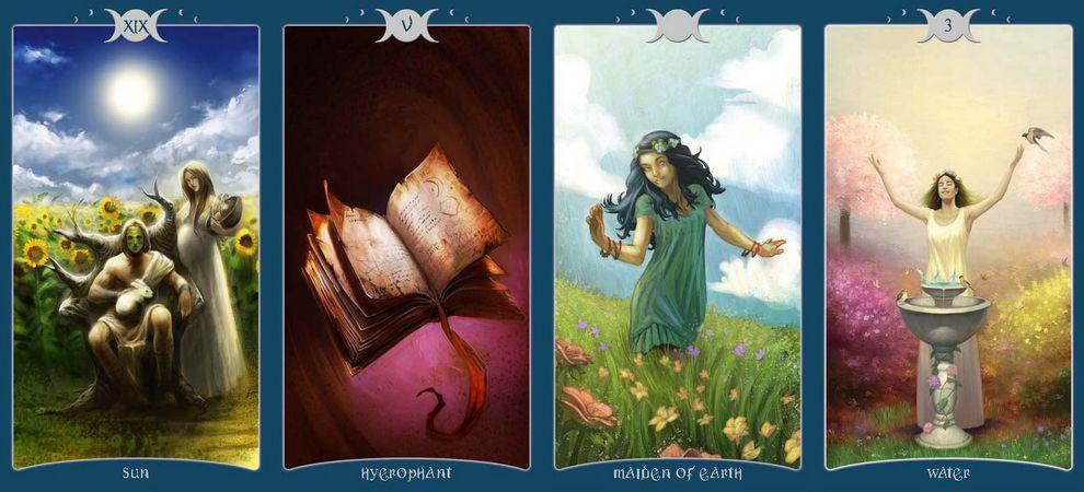 The Book of Shadow Tarot Volume I As above Vol. 1 Lo Scarabeo Volume II so below Vol. 2 ไพ่ทาโร่ต์ Pagan Barbara Moore ไพ่ยิปซี ไพ่เดอะซัน The Sun ไพ่สังฆราช ไพ่ Hierophant ไพ่สามถ้วย Three of Cups Water ไพ่ทาโรต์ หนังสือเงา