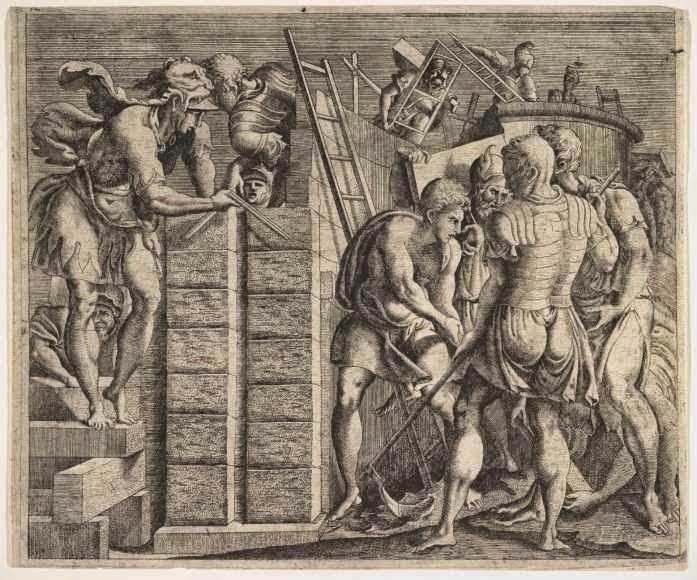 Ο Κάδμος κτίζει τη Θήβα.-Χαλκογραφία του Master of the Story of Cadmus, περίπου 1542–47. Πλήθος ανδρών συμμετέχουν στην ανέγερση των τειχών της πόλης που ίδρυσε ο Κάδμος, της Θήβας. Νέα Υόρκη, Μητροπολιτικό Μουσείο, 66.747.111