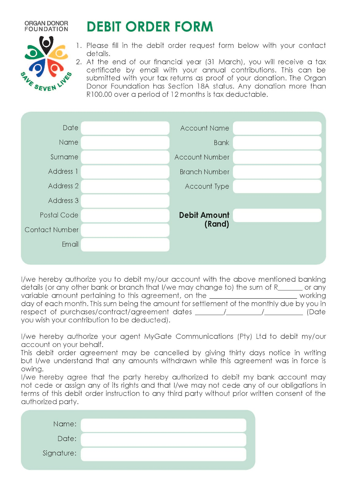 Charming Organdonorfoundation August 2012. Organdonorfoundation August 2012. New  Contributor Debit Order Forms ...