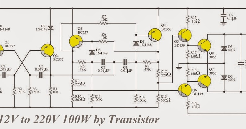 electronics projects  inverter 12v to 220v 100w by transistor