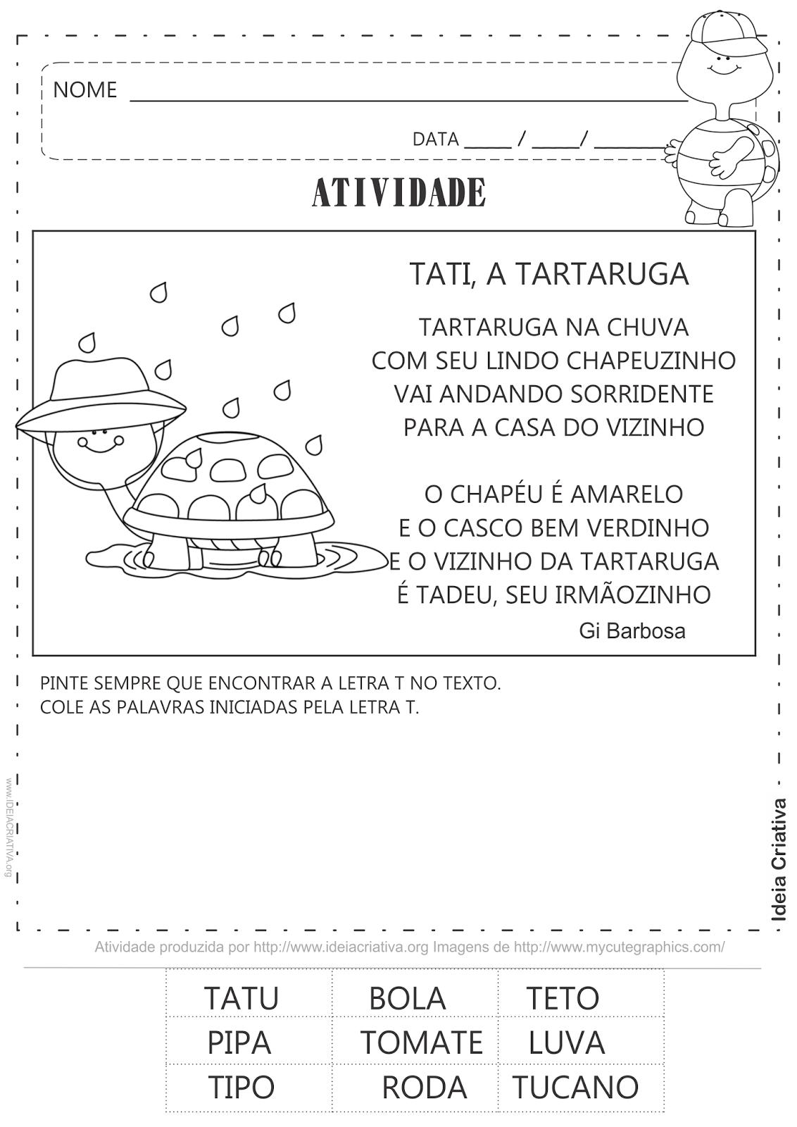 Atividade Letra T - Reino Animal Répteis Tartaruga