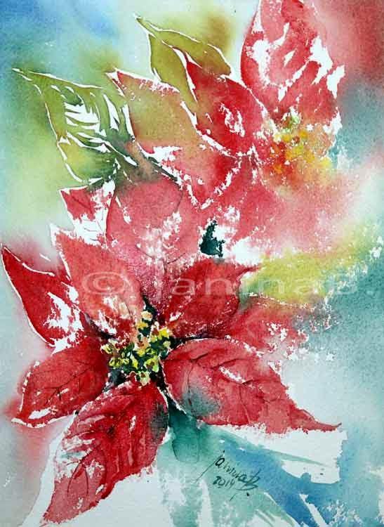 Aquarellzauber weihnachtssterne - Aquarell weihnachten ...