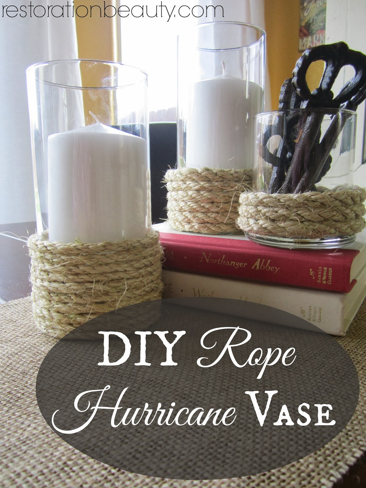 DIY Rope Hurricane Vases (Candle Holders) Ideas