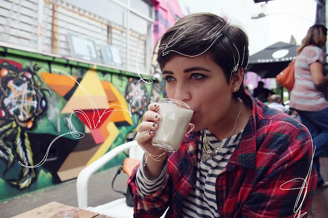tartan blouse, striped shirt, mixed prints, Punk trend 2013, Punk fashion, graffiti walls cafe