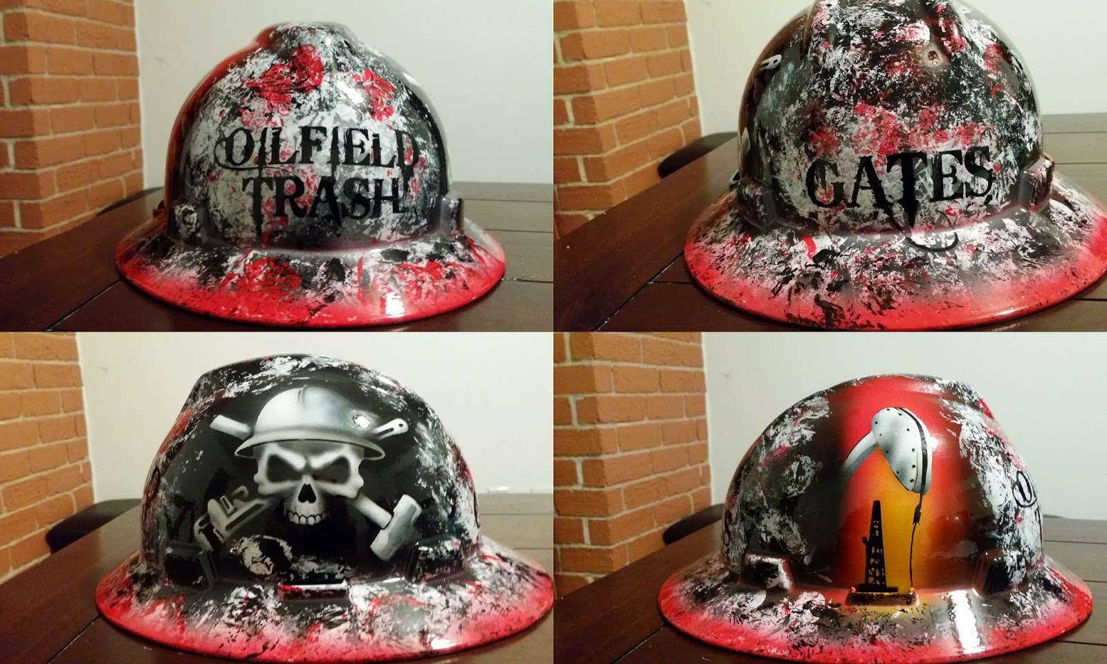 Detailed Oilfield Trash with badass skull and crossbones form sledge and pipe wrench