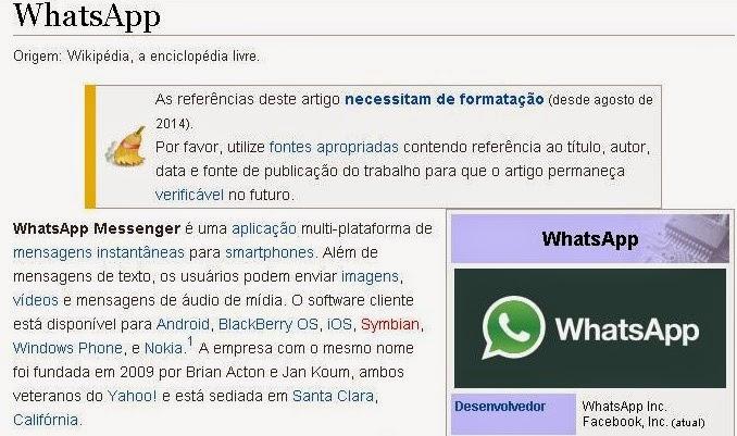 Definição do termo WhatsApp na Wikipedia