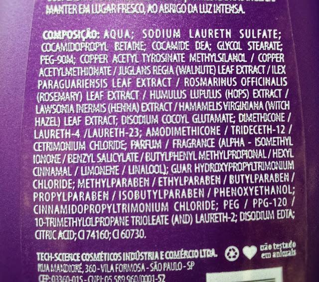 Composição do Shampoo matizador da Avora Cosméticos