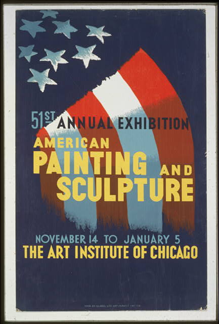 art, classic posters, retro prints, vintage, vintage posters, graphic design, free download, federal art project, 51st Annual Exhibition,  American Painting and Sculpture - Art Institute of Chicago Vintage Poster