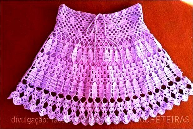 croche com receita saias rosa bebê menina
