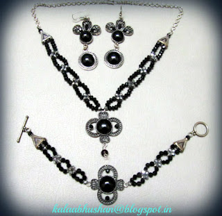 black beads , crystals ,