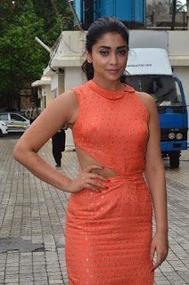 Shriya Saran Looks Stunning in hal Orange Gown Spicy Pics at Drishyam Movie Screening