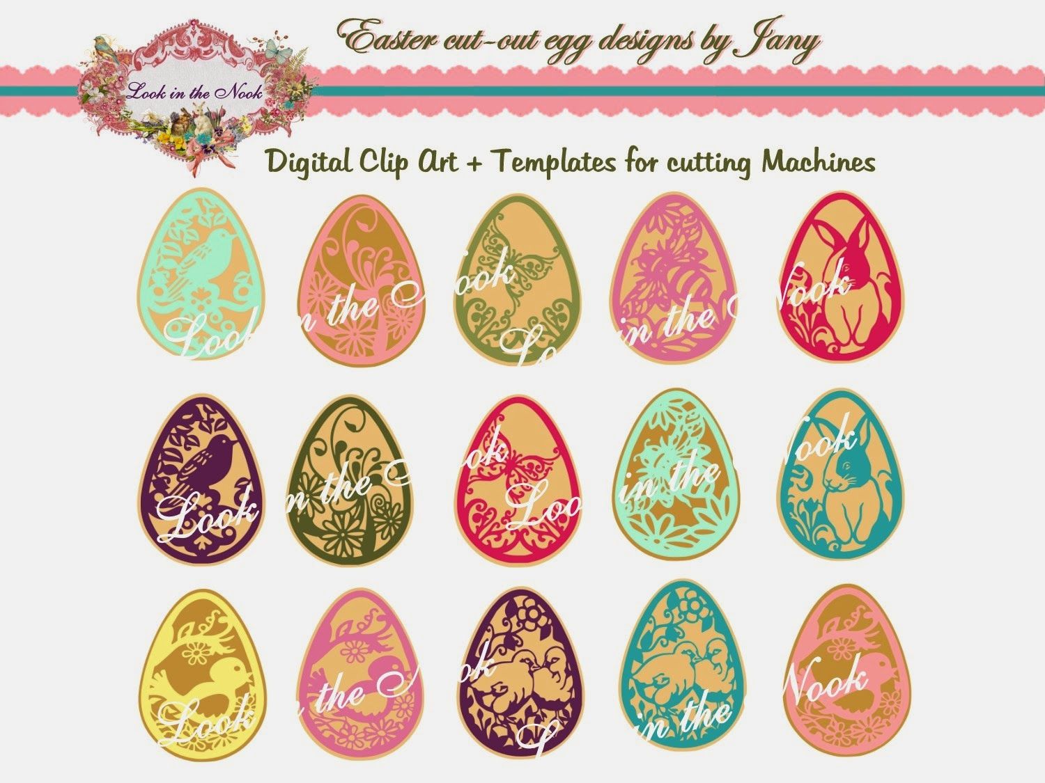 A Sweet Set Of 7 Spring Easter Egg Designs