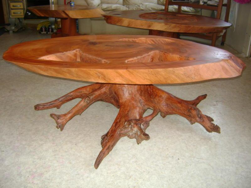 Muebles de alerce rustico mesas de centro de alerce for Mesas de troncos de arboles