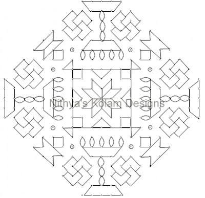 Kolam 107: Diwali Kolam 21 to 5 dots 3