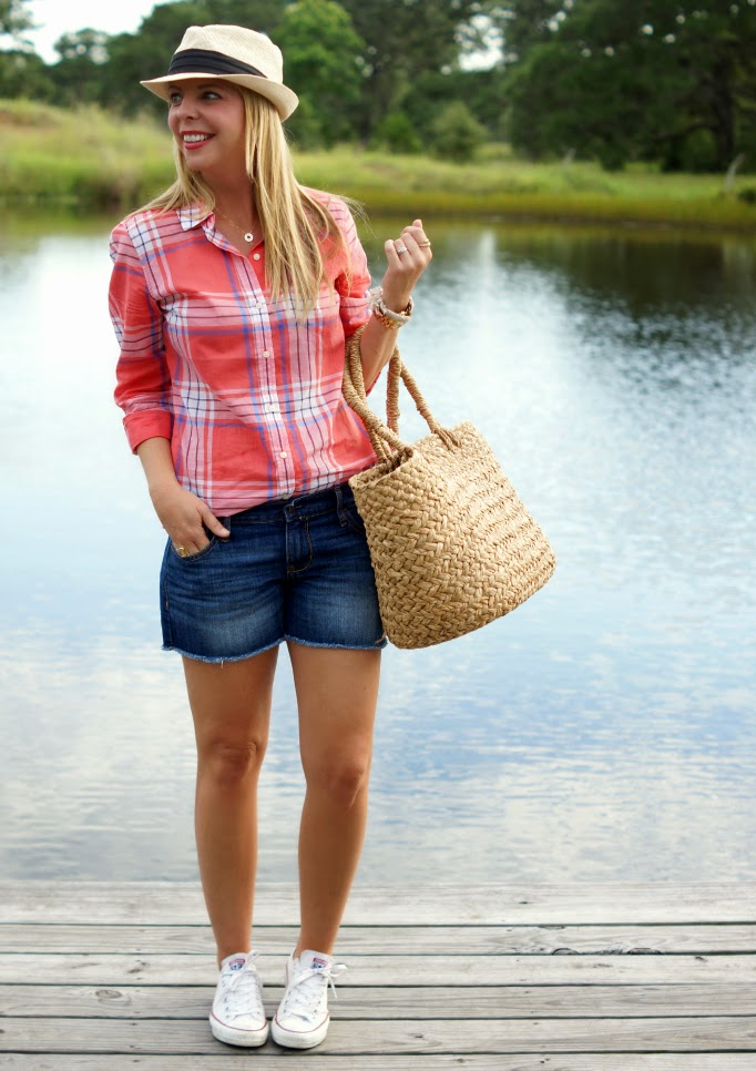 Denim shorts plaid top from Old Navy