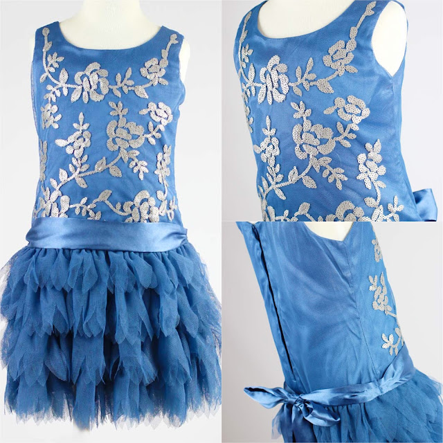 Blue Sleeveless Embroidered Tulle Dress   Chichi  Mary Blog