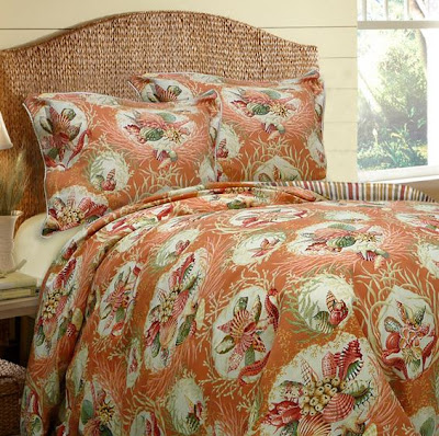 coral colored tropical comforter set