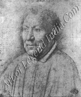 A preparatory sketch, This silverpoint drawing of Cardinal Albergati is the only surviving preparatory sketch for a painting by Van Eyck. The portrait includes detailed notes on colouring and is followed faithfully iii the painting.