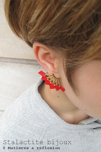 Bijou d'oreille plume rouge Stalactite Bijoux Parrot