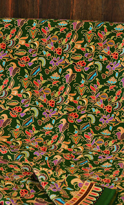 Singapore girl batik fabric green