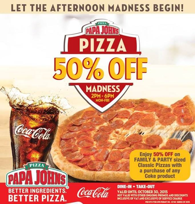 Up To 50% Off Papa John's Pizza. Get the latest Groupon promotion codes to upgrade your shopping experience when you shop online. Save big bucks w/ this offer: Up to 50% off Papa John.