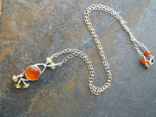 orange carnelian cabochon sterling silver nechlace