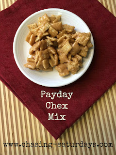 Country Fair Blog Party Blue Ribbon Winner - Chasing Saturdays's Payday Chex Mix