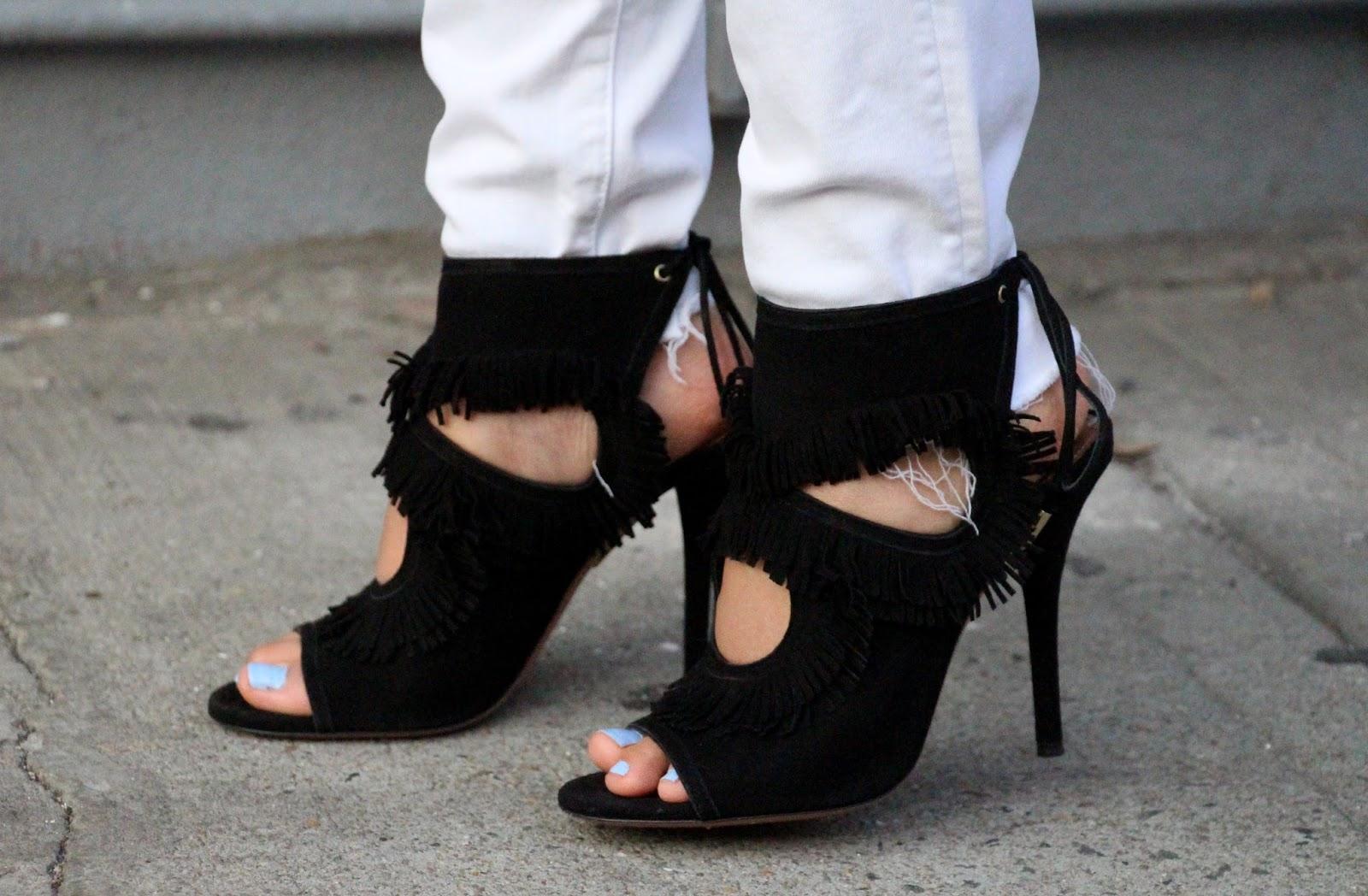 Aquazzura black fringe sandals