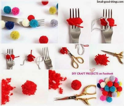 How to make a pom poms with fork..........think unique and make a unique stuff