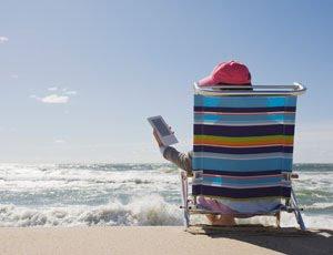 e-reader at beach