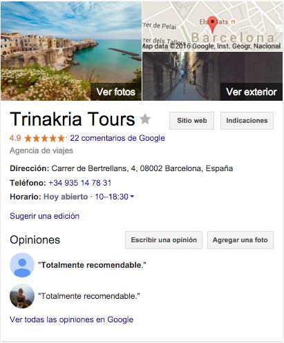 Opiniones Google sobre TRINAKRIA TOURS