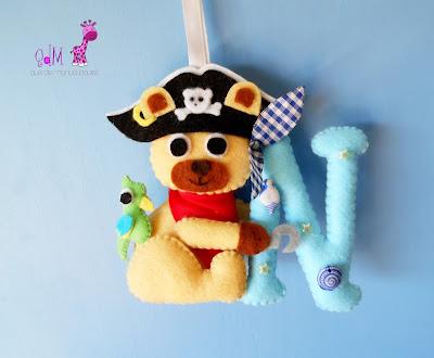 oso pirata fieltro