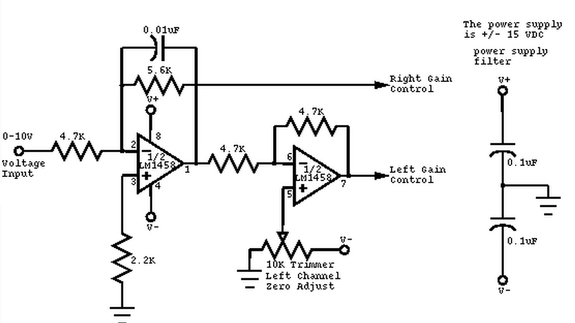 mono to stereo audio signal circuit converter