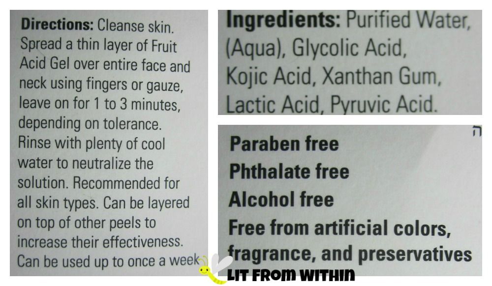 [Re]fresh Fruit Acid 15% Gel Peel directions and ingredients