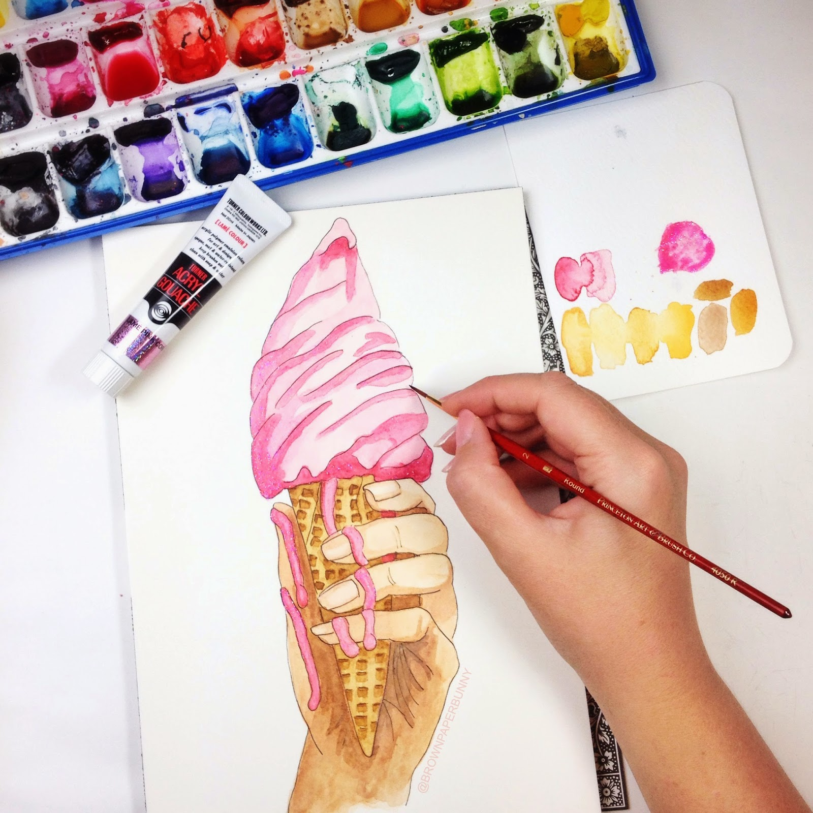 Happy National Ice-Cream Day! Illustration by BrownPaperBunny in watercolor and ink