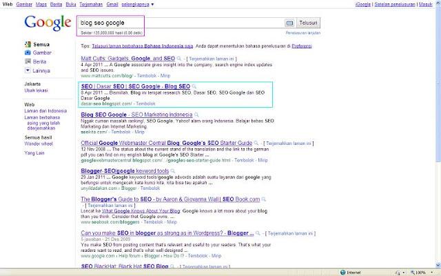 SERP Blog Dasar SEO di Google Indonesia