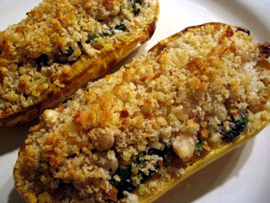 Roasted Delicata Squash Stuffed with White Beans and Wilted Spinach ...