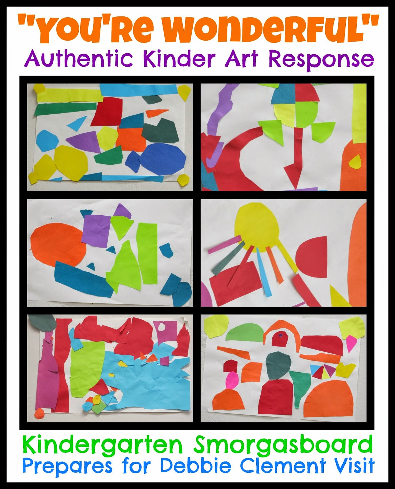 """You're Wonderful"" Authentic Kindergarten Art in response to picture book"