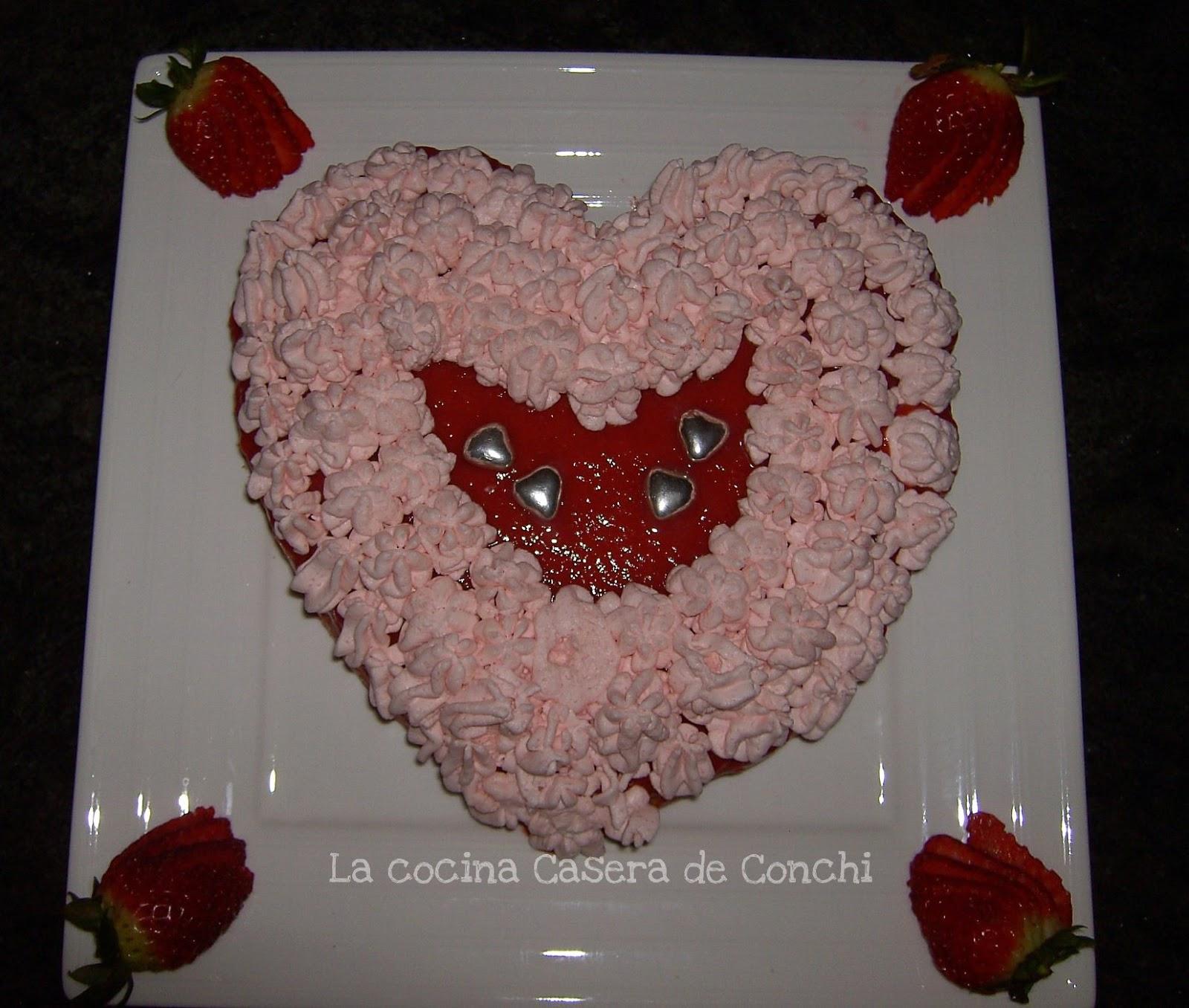 La cocina casera de conchi coraz n de fresa para san valentin for La cocina casera