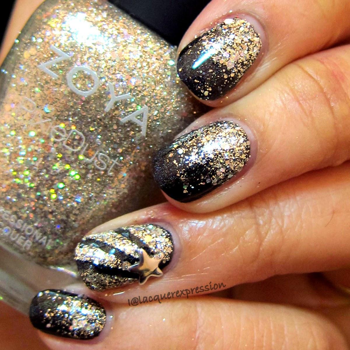 Glitter gradient using Zoya Cosmo over Bear Pawlish Supernatural