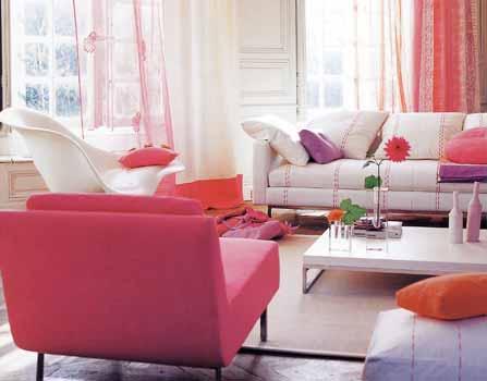 Interior Decor Inspiration: Accents of orange & cerise pink - Spring ...